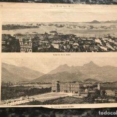 Arte: VISTA PANORÁMICA DE RIO DE JANEIRO Y ANTIGUO PALACIO IMPERIAL (BRASIL), HACIA 1880.. Lote 226900085
