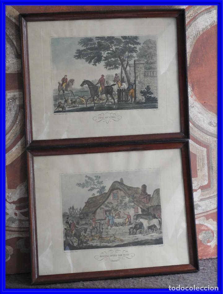 BONITOS GRABADOS INGLESES DE CAZA GRABADOR C. VERNET (Arte - Grabados - Modernos siglo XIX)