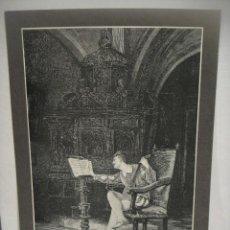 Arte: EL TAÑEDOR DE LAUD - GRABADO LITOGRAFICO -. Lote 227232245