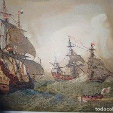 Arte: GRABADO CROMOLITOGRAFICO GALEONES Y NAVÍOS ESPAÑOLES SIGLO XVII, BARCELONA,1880, ORIGINAL,PUJADAS. Lote 228175350