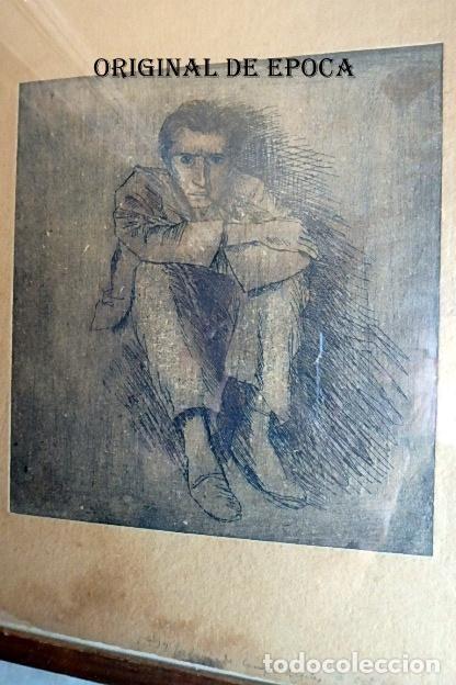 Arte: (JX-201205)Aguafuerte de Josep Narro i Celorrio.Refugiado Camp d´Argeles,6 Oct. 46 Única prueba . - Foto 2 - 228297990