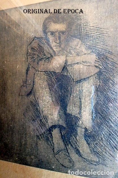 Arte: (JX-201205)Aguafuerte de Josep Narro i Celorrio.Refugiado Camp d´Argeles,6 Oct. 46 Única prueba . - Foto 3 - 228297990