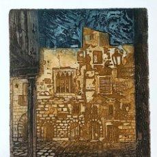 Arte: GRABADO DE MARIANO RUBIO MARTÍNEZ. CALATAYUD 1926 PLAZA DE LA CATEDRAL DE TARRAGONA. Lote 229991475