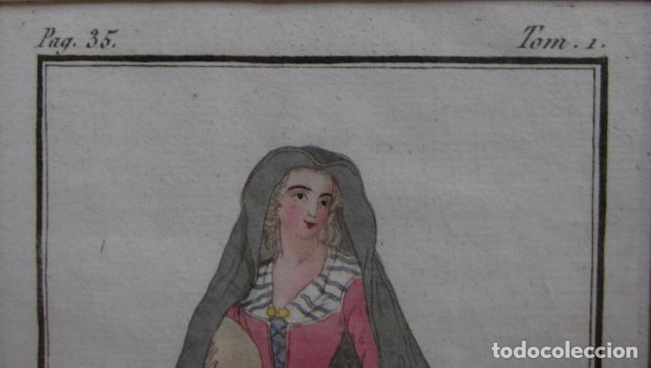 Arte: FEMME CATALANE. MUJER CATALANA. 1805. GRABADO COLOREADO A MANO de la época. 18,2 x 11,8 cm. - Foto 3 - 230127265