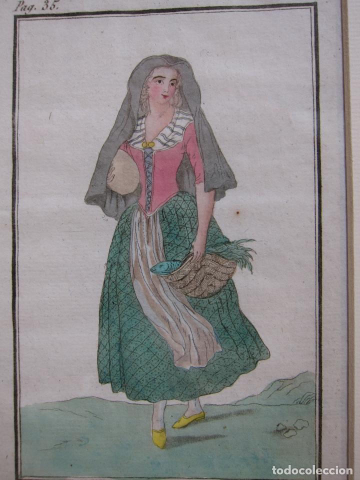 Arte: FEMME CATALANE. MUJER CATALANA. 1805. GRABADO COLOREADO A MANO de la época. 18,2 x 11,8 cm. - Foto 4 - 230127265