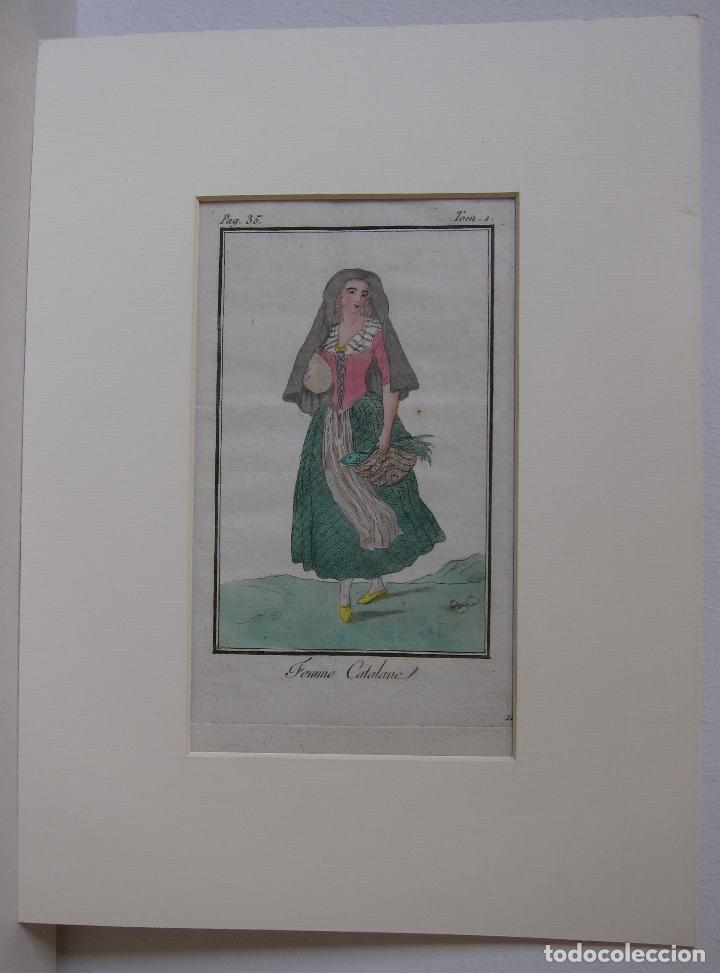 Arte: FEMME CATALANE. MUJER CATALANA. 1805. GRABADO COLOREADO A MANO de la época. 18,2 x 11,8 cm. - Foto 5 - 230127265
