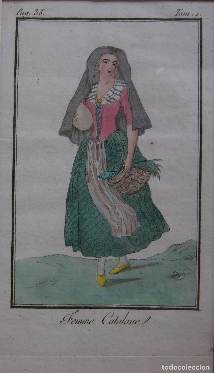 FEMME CATALANE. MUJER CATALANA. 1805. GRABADO COLOREADO A MANO DE LA ÉPOCA. 18,2 X 11,8 CM. (Arte - Grabados - Antiguos hasta el siglo XVIII)