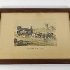 Art: GRABADO DE V. ADAM 1851 - MAIL-COACH PARÍS LONDON - DILIGENCIA, CARRUAJE - GRABADO ILUMINADO. Lote 230565470