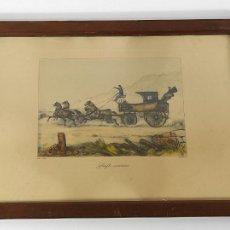 Arte: GRABADO DE V. ADAM 1851 - COURRIER - DILIGENCIA, CARRUAJE - GRABADO ILUMINADO. Lote 265098214