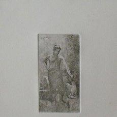 Arte: MARIANO GARCÍA Y MAS. GRABADO AL AGUAFUERTE. GUERRERO, ESPADA Y CORAZA. FIRMADO PLANCHA. BUEN ESTADO. Lote 230719205