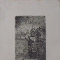 Arte: MARIANO GARCÍA Y MAS. GRABADO AL AGUAFUERTE. FIRMADO EN PLANCHA. NO FASES NIU A LA VORA DEL RIU.. Lote 230739460