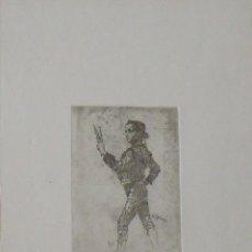 Arte: MARIANO GARCÍA Y MAS. GRABADO AL AGUAFUERTE. FIRMADO PLANCHA. EL TORERO. BUEN ESTADO.. Lote 230746365