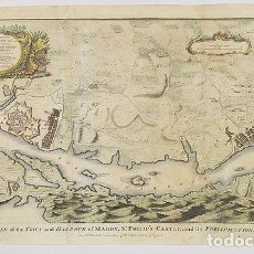 Arte: RAPIN / TINDAL. PLAN OF THE TOWN AND HARBOUR OF MAHON, ST. PHILIP'S CASTLE, AND ITS FORTIFICATION. Lote 169398504
