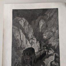 Arte: 1880 DORE GRABADO ORIGINAL - LA DILIGENCIA, CAMINO DE GRANADA - LE TOUR DU MONDE - 22X28,5. Lote 231354270