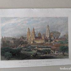 Arte: SIGLO XIX - GRABADO ORIGINAL COLOREADO - SEMINARIO Y CATEDRAL DE SANTIAGO - W.WALLIS. Lote 231356360