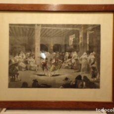 Art: GRABADO ANTIGUO DE DIBUJO DE LLOVERA GRABADOR SADURNI EN MARCO ANTIGUO DE MADERA. Lote 231360370