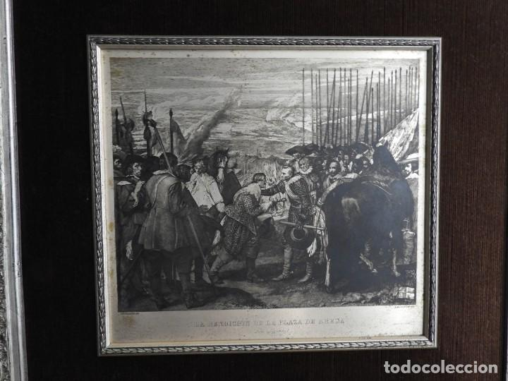 Arte: CUADRO GRABADO SOBRE COBRE PLATEADO RENDICION DE BREDA DE VELAZQUEZ - Foto 2 - 231379395