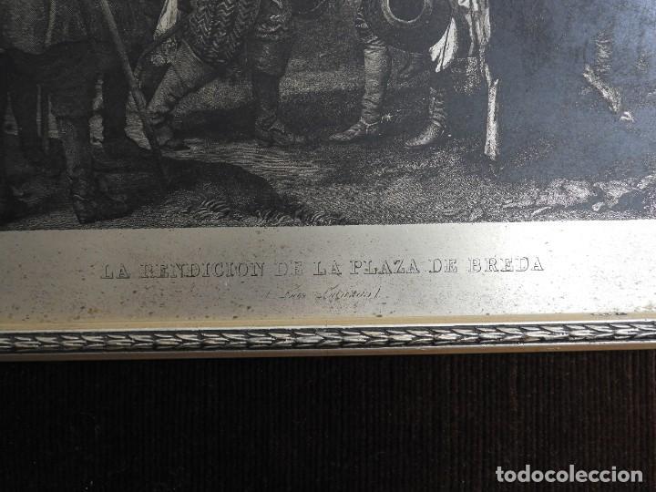 Arte: CUADRO GRABADO SOBRE COBRE PLATEADO RENDICION DE BREDA DE VELAZQUEZ - Foto 4 - 231379395