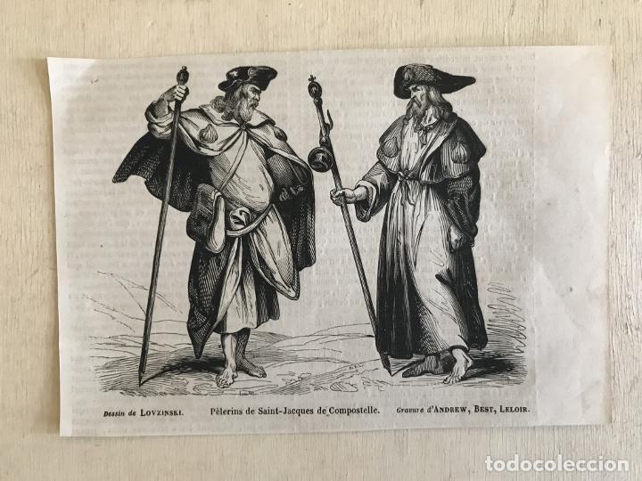 Arte: Peregrinos a Santiago de Compostela (A Coruña, España), hacia 1850. Lovzinky/Andrew, Best, Leloib - Foto 2 - 231659570
