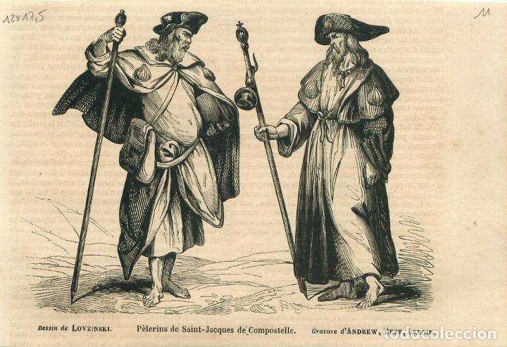 PEREGRINOS A SANTIAGO DE COMPOSTELA (A CORUÑA, ESPAÑA), HACIA 1850. LOVZINKY/ANDREW, BEST, LELOIB (Arte - Grabados - Modernos siglo XIX)