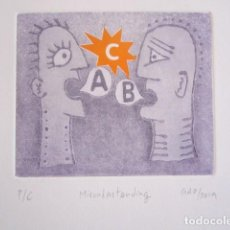 Arte: MALENTENDIDO C - GRABADO AL AGUATINTA Y MONOTIPO DE GAP (GUILLERMO ANTÓN PARDO) - 33 X 42 CM. Lote 231885370