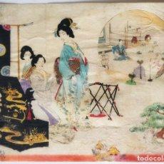 Arte: INTERESANTE Y SUTIL GRABADO JAPONÉS ORIGINAL, REUNIÓN DE GEISHAS, SIGLO XIX, CIRCA 1840. Lote 232128185