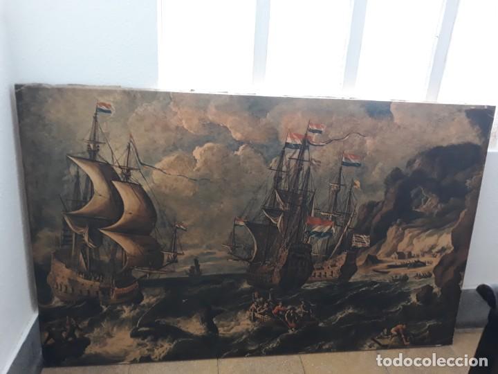 Arte: Cuadro barcos d vela antiguo papel de hilo lienzo 150 ancho×93 de alto - Foto 2 - 232749650