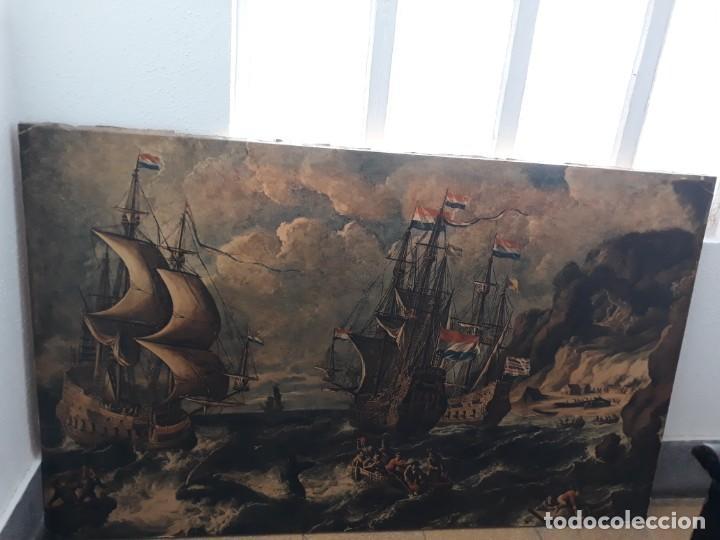 CUADRO BARCOS D VELA ANTIGUO PAPEL DE HILO LIENZO 150 ANCHO×93 DE ALTO (Arte - Grabados - Modernos siglo XIX)