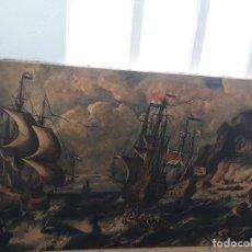 Arte: CUADRO BARCOS D VELA ANTIGUO PAPEL DE HILO LIENZO 150 ANCHO×93 DE ALTO. Lote 232749650