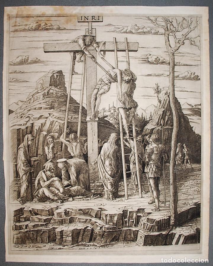 LA DESCENTE DE CROIX. MANTEGNA. (Arte - Grabados - Modernos siglo XIX)