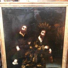 Arte: OLEO SOBRE LIENZO SIGLO XVIII CRISTO DE LOS AFLIGIDOS - MEDIDA MARCO 88X67 CM. Lote 234046640