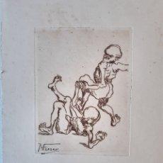 Arte: AGUAFUERTE. PIEZA DE COLECCIÓN. FIRMADO M.FRESER. 25.5X40.50CM. FOLLETO ORIGINAL DE EXPOSICION.1922. Lote 234432320