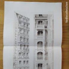 Arte: MAISON A LOYER, AVENUE MALAKOFF, 67 A PARIS. FACADE SUR. MR. CHARLES PLUMET. 1897 94. Lote 234536985