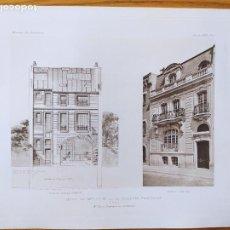 Arte: HOTEL DE MELLE DU M. DE LA COMEDIE FRANCAISE, A PARIS. FACADES. MR. HENRY GRANDPIERRE, 1898 44. Lote 234553510
