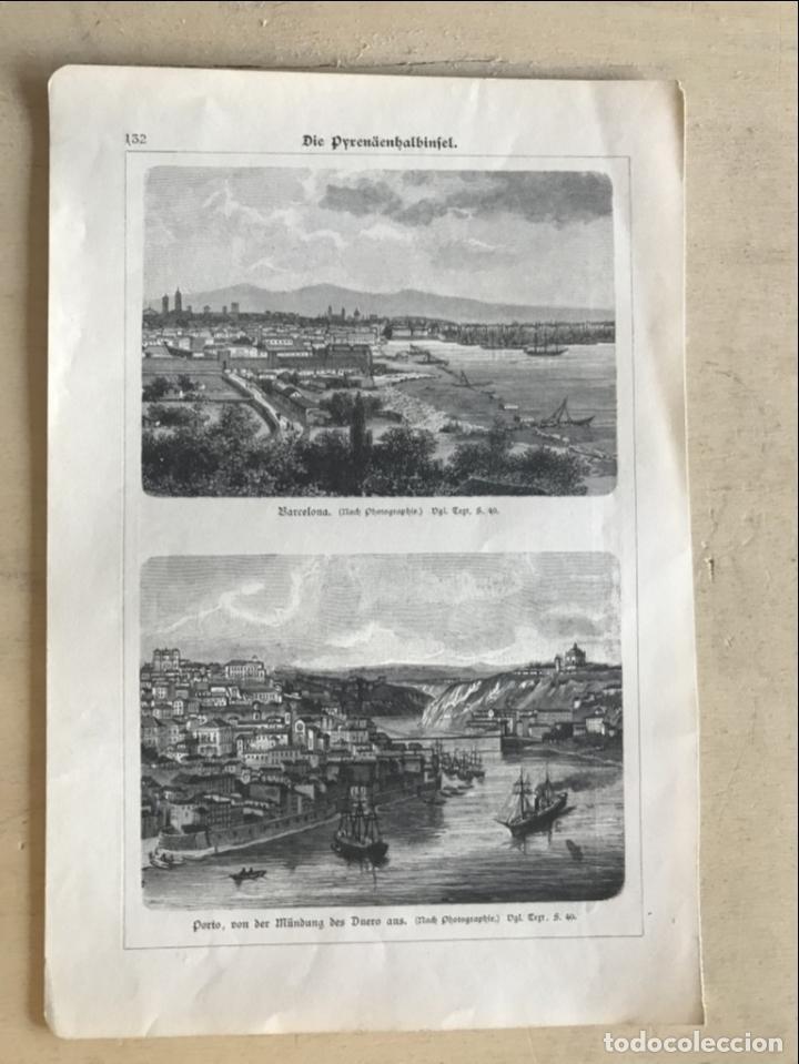 Arte: Vista de Barcelona y Pirineos (España) y Oporto (Portugal), hacia 1870. - Foto 2 - 234750035