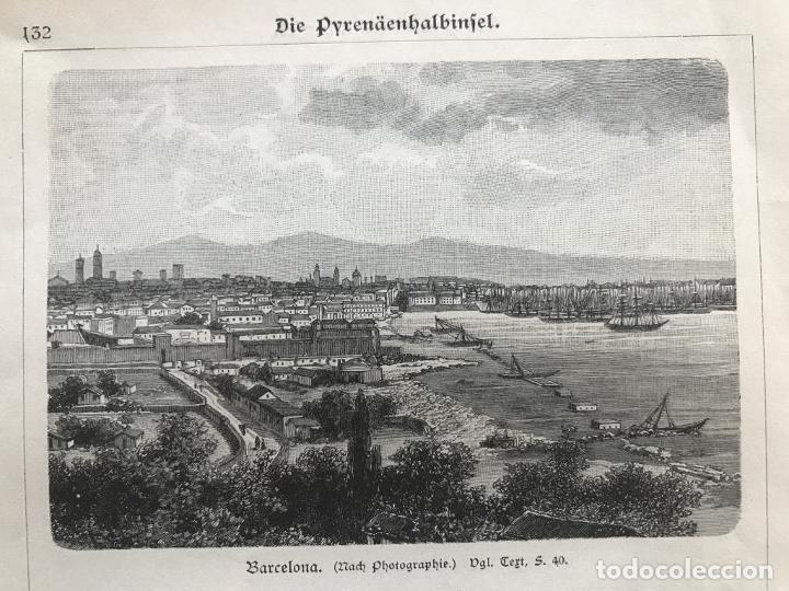 Arte: Vista de Barcelona y Pirineos (España) y Oporto (Portugal), hacia 1870. - Foto 3 - 234750035