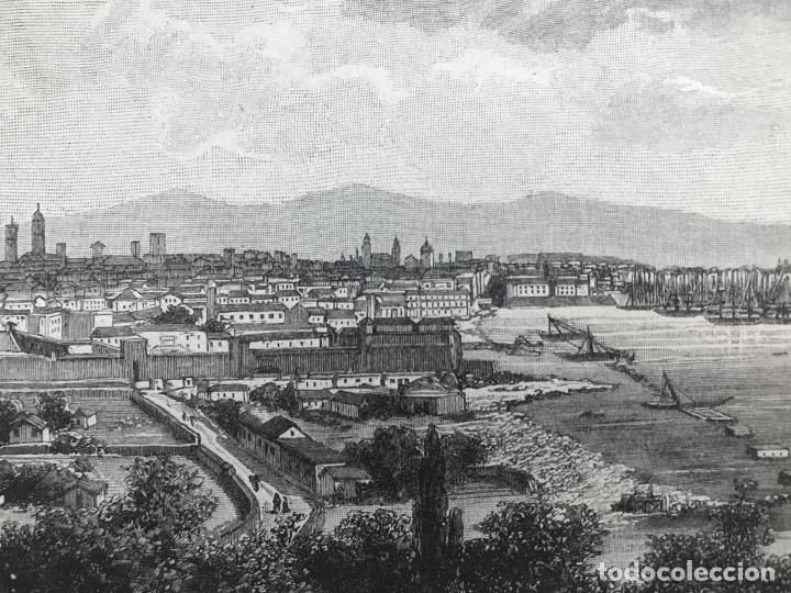 Arte: Vista de Barcelona y Pirineos (España) y Oporto (Portugal), hacia 1870. - Foto 4 - 234750035