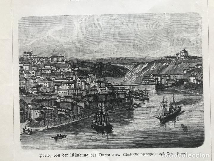 Arte: Vista de Barcelona y Pirineos (España) y Oporto (Portugal), hacia 1870. - Foto 5 - 234750035