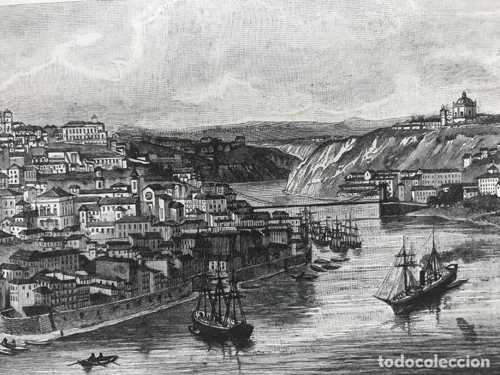 Arte: Vista de Barcelona y Pirineos (España) y Oporto (Portugal), hacia 1870. - Foto 6 - 234750035