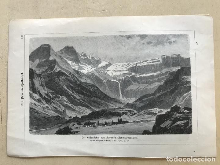 Arte: Vista de Barcelona y Pirineos (España) y Oporto (Portugal), hacia 1870. - Foto 7 - 234750035