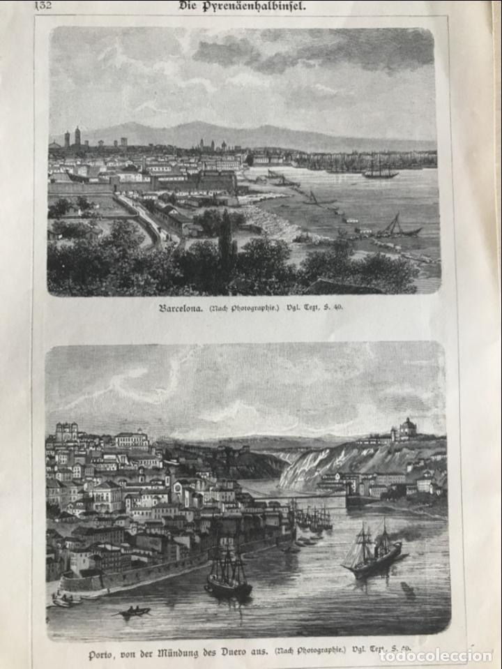 VISTA DE BARCELONA Y PIRINEOS (ESPAÑA) Y OPORTO (PORTUGAL), HACIA 1870. (Arte - Grabados - Modernos siglo XIX)