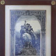 Arte: GRABADO ANTIGUO EN LA CAZA DE CETRERÍA. CUADRO DE HERMAN VOGEL. ENMARCADO CON CRISTAL PROTECTOR. Lote 234814115