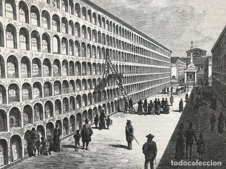 Arte: Vista parcial de un cementerio en Barcelona, 1888. Anónimo - Foto 3 - 234874625