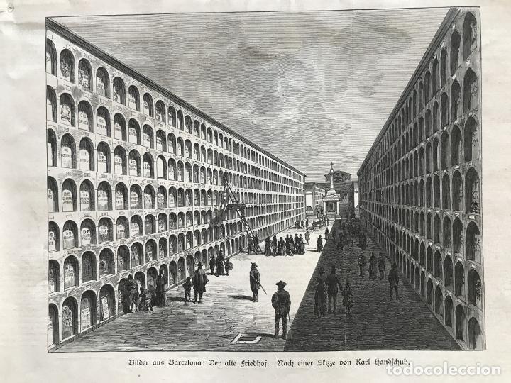 VISTA PARCIAL DE UN CEMENTERIO EN BARCELONA, 1888. ANÓNIMO (Arte - Grabados - Modernos siglo XIX)