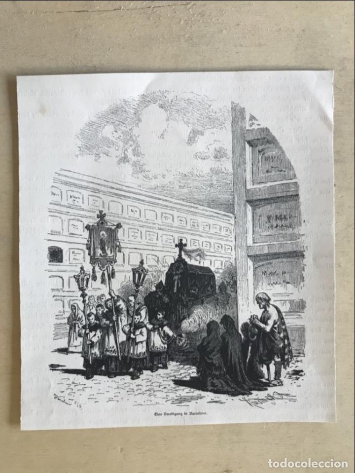 Arte: Entierro en un cementerio de Barcelona (España), 1888. - Foto 2 - 234877330