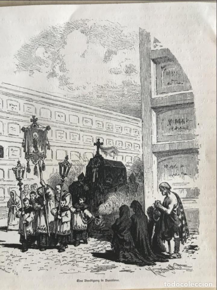 ENTIERRO EN UN CEMENTERIO DE BARCELONA (ESPAÑA), 1888. (Arte - Grabados - Modernos siglo XIX)
