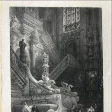 Arte: VISTA DEL INTERIOR DE LA CATEDRAL DE BURGOS (CASTILLA, ESPAÑA), 1836. ROBERTS/CHALLIS/JENNINGS. Lote 235063465