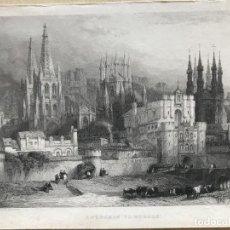 Arte: VISTA PANORÁMICA DE BURGOS (CASTILLA, ESPAÑA), CIRCA 1850. ROBERTS/CARRIER/LLOYD. Lote 235066790
