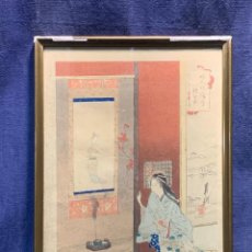 Arte: UKIYO E GRABADO MADERA XILOGRABADO JAPON FIN S XIX PPIO XX 38X27CMS. Lote 235072600