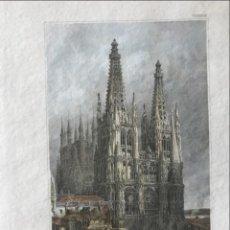 Arte: VISTA PANORÁMICA, A COLOR, DE LA CATEDRAL DE BURGOS (ESPAÑA),1859. INST. HILD.. Lote 235074725
